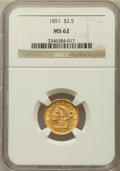 Liberty Quarter Eagles: , 1851 $2 1/2 MS62 NGC. NGC Census: (162/117). PCGS Population(70/90). Mintage: 1,372,748. Numismedia Wsl. Price for problem...