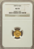 Gold Dollars: , 1849-O G$1 Open Wreath AU55 NGC. NGC Census: (81/494). PCGSPopulation (56/189). Mintage: 215,000. Numismedia Wsl. Price fo...