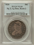Bust Half Dollars: , 1820 50C Square Base Knob 2, Large Date VG10 PCGS. PCGS Population(1/135). NGC Census: (0/0). ...