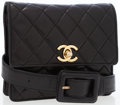 Luxury Accessories:Accessories, Chanel Black Quilted Lambskin Leather Belt Bag with CC Gold Turnlock . ...