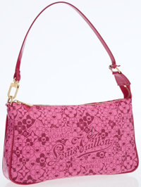Louis Vuitton Limited Edition Pink Glossy Leather Cosmic Blossom Pochette Bag