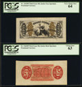 Fractional Currency:Third Issue, Fr. 1343SP 50¢ Third Issue Justice Wide Margin Pair PCGS Very Choice New 64 and Choice New 63.. ... (Total: 2 items)