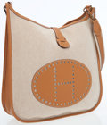 Luxury Accessories:Bags, Hermes Gold Swift Leather and Toile Evenlyne GM Crossbody Bag. ...
