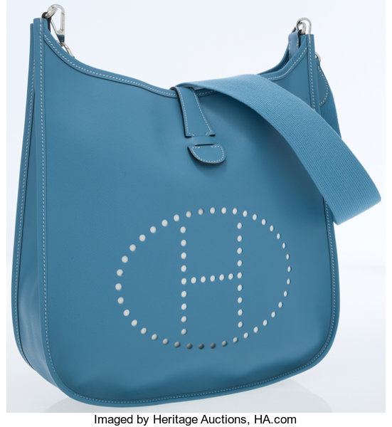0f251c1df Luxury Accessories:Bags, Hermes Blue Jean Epsom Leather Evelyne II  Crossbody Bag.
