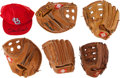 Autographs:Others, Stan Musial Retail Model Gloves (5) and Cardinal Cap with TwoAutographs....