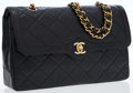 Luxury Accessories:Bags, Chanel Black Quilted Lambskin Leather Double Flap Bag with Two-ToneCC Turnlock. ...