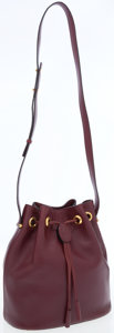 Luxury Accessories:Bags, Cartier Burgundy Leather Drawstring Shoulder Bag with GoldHardware. ...