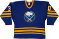 Hockey Collectibles:Uniforms, 1984-85 Tom Barrasso Game Worn Buffalo Sabres Jersey - With LargeTeam Repair!...
