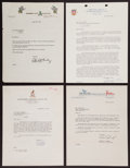 Baseball Collectibles:Others, 1945-64 Major League Baseball Executives Signed Letters Lot of 4....