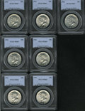 Kennedy Half Dollars: , (7) 1964 50C MS64 PCGS.... (Total: 7 Coins Item)