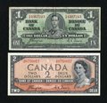 Canadian Currency: , BC-21d $1 1937 Fine. BC-30a $2 1954 Devil's Face Portrait ChoiceCU.. ... (Total: 2 notes)