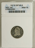 Bust Dimes: , 1821 10C Large Date--Corroded--ANACS. VG10 Details. NGC Census:(4/193). PCGS Population (0/167). Mintage: 1,186,512. Numis...