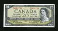 Canadian Currency: , BC-41b $20 1954 Modified Portrait.. ...