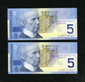 Canadian Currency: , Two Different Children at Play Fives.. ... (Total: 2 notes)