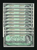 Canadian Currency: , BC-45b $1 1967 Ten Consecutive Examples.. ... (Total: 10 notes)