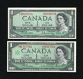 Canadian Currency: , BC-37bA-i $1 Modified Portrait 1954. BC-45bA-i $1 1967.. ...(Total: 2 notes)