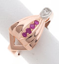 Estate Jewelry:Rings, Ruby, Diamond, Pink Gold Ring. ...