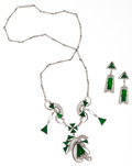 Estate Jewelry:Suites, Jadeite Jade, White Gold Jewelry Suite. ... (Total: 2 Items)