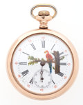 Timepieces:Pocket (post 1900), Swiss Painted Dial Open Face Pocket Watch. ...