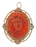 Estate Jewelry:Brooches - Pins, Victorian Coral, Gold Pendant-Brooch. ...