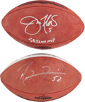 """Football Collectibles:Balls, Ray Lewis and Joe Flacco Signed Leather """"Wilson"""" Super Bowl Balls Lot of 2...."""
