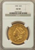 Liberty Double Eagles: , 1850 $20 AU58 NGC. NGC Census: (129/66). PCGS Population (38/71).Mintage: 1,170,261. Numismedia Wsl. Price for problem fre...