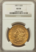 Liberty Double Eagles: , 1857-S $20 AU58 NGC. NGC Census: (137/275). PCGS Population(49/161). Mintage: 970,500. Numismedia Wsl. Price for problem f...