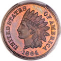 Proof Indian Cents, 1864 1C L On Ribbon PR66 Brown PCGS Secure. CAC. Snow-PR1....