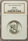 Commemorative Silver: , 1936-D 50C Cincinnati MS66 NGC. NGC Census: (231/28). PCGSPopulation (313/35). Mintage: 5,005. Numismedia Wsl. Price for p...