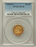 Liberty Quarter Eagles: , 1850-O $2 1/2 XF45 PCGS. PCGS Population (26/74). NGC Census:(45/230). Mintage: 84,000. Numismedia Wsl. Price for problem ...