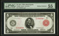 Fr. 840a $5 1914 Red Seal Federal Reserve Note PMG About Uncirculated 55