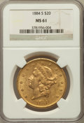 Liberty Double Eagles: , 1884-S $20 MS61 NGC. NGC Census: (977/783). PCGS Population(543/1237). Mintage: 916,000. Numismedia Wsl. Price for problem...