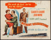 "Without Reservations (RKO, 1946). Half Sheet (22"" X 28"") Style A. Comedy"