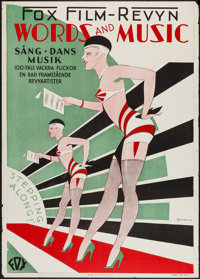 "Words and Music (Fox, 1929). Swedish One Sheet (28"" X 39.5""). Musical"