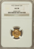 Commemorative Gold: , 1922 G$1 Grant No Star AU58 NGC. NGC Census: (29/1166). PCGSPopulation (56/1992). Mintage: 5,000. Numismedia Wsl. Price fo...