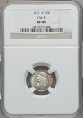 Bust Half Dimes: , 1832 H10C XF45 NGC. LM-2. NGC Census: (16/806). PCGS Population(53/699). Mintage: 965,000. Numismedia Wsl. Price for prob...