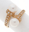 Estate Jewelry:Rings, Cultured Pearl, Diamond, Gold Ring. ...