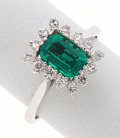 Estate Jewelry:Rings, Synthetic Emerald, Diamond, White Gold Ring. ...