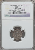 Bust Dimes: , 1834 10C Large 4 -- Improperly Cleaned -- NGC Details. XF. JR-5.NGC Census: (0/2). PCGS Population (24/144). ...
