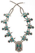 Estate Jewelry:Necklaces, Navajo, Turquoise, Coral, Silver Squash Blossom Necklace. ...