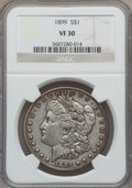 Morgan Dollars: , 1899 $1 VF30 NGC. NGC Census: (12/8402). PCGS Population(33/11138). Mintage: 330,846. Numismedia Wsl. Price for problemfr...