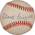 Autographs:Baseballs, Circa 1950 Clark Griffith Single Signed Baseball....