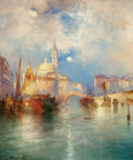 Fine Art - Painting, American:Antique  (Pre 1900), THOMAS MORAN (American, 1837-1926). Moonrise, Chioggia,Venice, 1897. Oil on panel. 19 x 15-1/4 inches (48.3 x 38.7cm)...