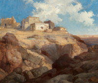 THOMAS MORAN (American, 1837-1926) A Bit of Acoma, New Mexico, 1911 Oil on canvas 10-1/8 x 12-1/4