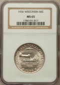 Commemorative Silver: , 1936 50C Wisconsin MS65 NGC. NGC Census: (1324/1613). PCGSPopulation (2226/1987). Mintage: 25,015. Numismedia Wsl. Price f...