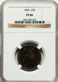 Proof Barber Quarters, 1906 25C PF66 NGC. NGC Census: (49/33). PCGS Population (34/21). Mintage: 675. Numismedia Wsl. Price for problem free NGC/P...