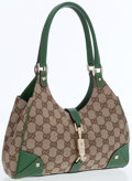 Luxury Accessories:Bags, Gucci Classic Monogram Canvas and Green Leather Small Bardot Bag....