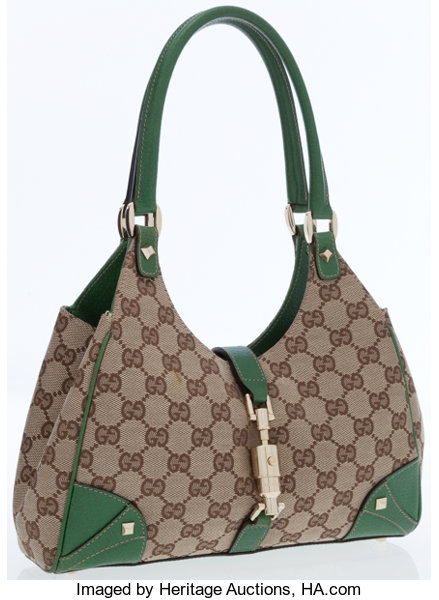 ee0451a31250 Luxury Accessories:Bags, Gucci Classic Monogram Canvas and Green Leather  Small Bardot Bag.