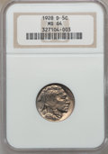 Buffalo Nickels: , 1928-D 5C MS64 NGC. NGC Census: (882/143). PCGS Population(1292/379). Mintage: 6,436,000. Numismedia Wsl. Price for proble...