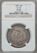 Bust Half Dollars: , 1809 50C Normal Edge VF20 NGC. O-103. NGC Census: (15/738). PCGSPopulation (23/584). Mintage: 1,405,810. Numismedia Wsl. ...